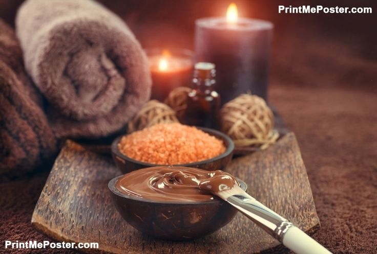 Poster of Chocolate Spa, Mask, Bath salt, brown sugar scrub for healthy body and face skin. Aromatherapy. Luxu, Salon Posters, #poster, #printmeposter, #mousepad, #tshirt