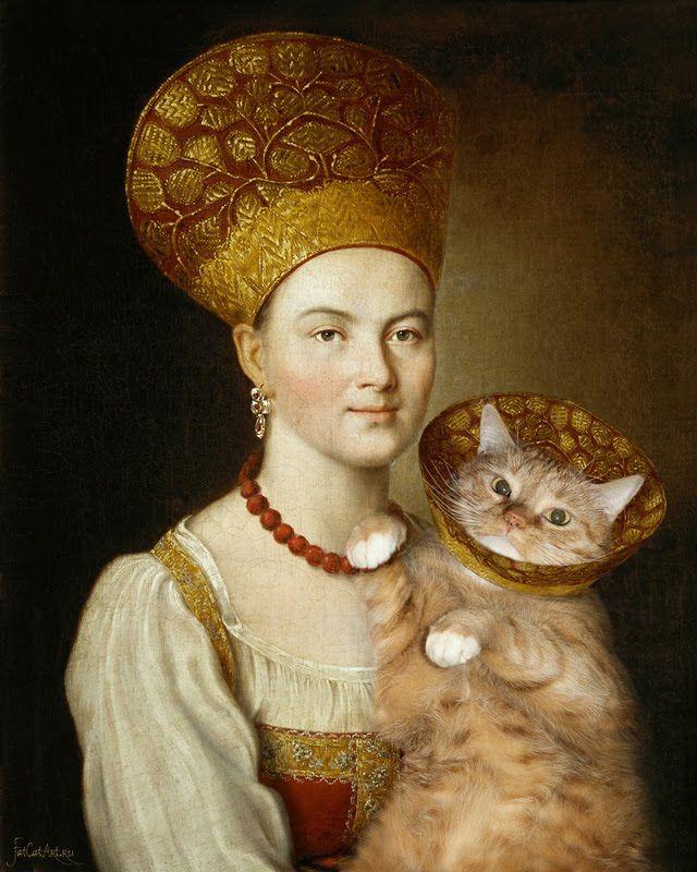 ТОЛСТЫЙ  КОТ В КОКОШНИКЕ  с бабой, Мона Лиза и Наполеон/Fat cat - MUSA i...