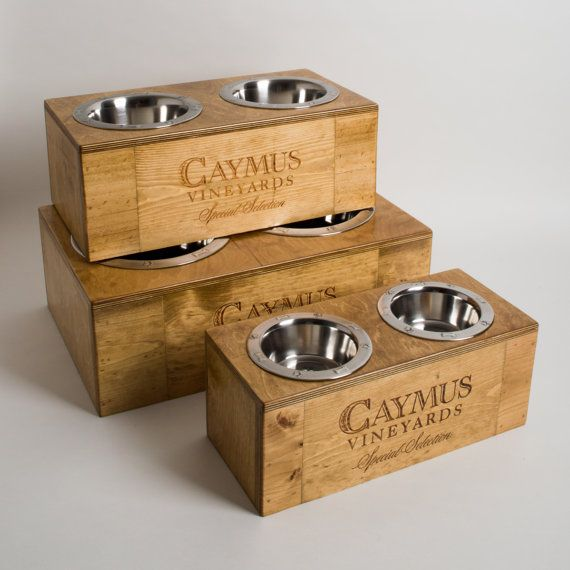Small Medium and Large Caymus Wine Crate Dog Feeder