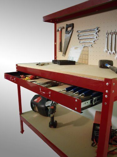 New Steel Garage Work Bench Workbench Storage With Drawers Pegboard and 12 Pegs Shelf DIY Workshop Station Maximum Capacity 150kgs, http://www.amazon.co.uk/dp/B00K7CMUGS/ref=cm_sw_r_pi_awdl_vmyYtb0B8PWP7