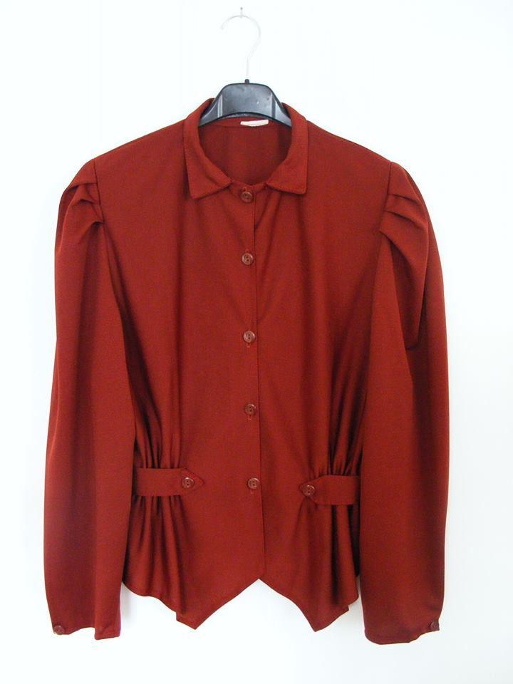 1980s ployester bordeaux blouse