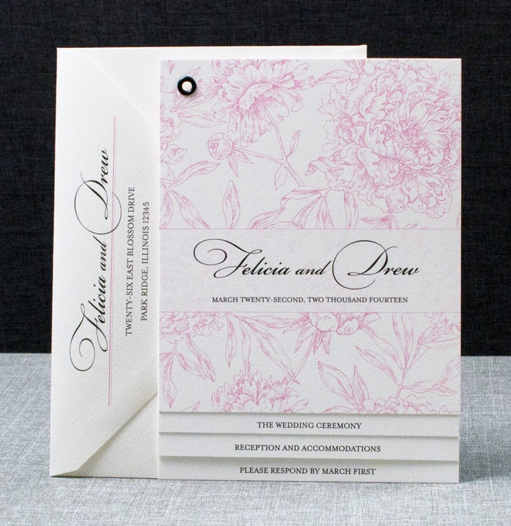 invitation message for wedding in hindi%0A Felicia Booklet Wedding Invitation  Pink Peony Pattern Book Invitation