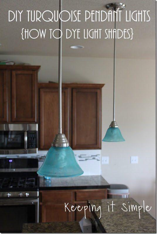 Turquoise Pendants Light- How to Dye Light Shades #DIY