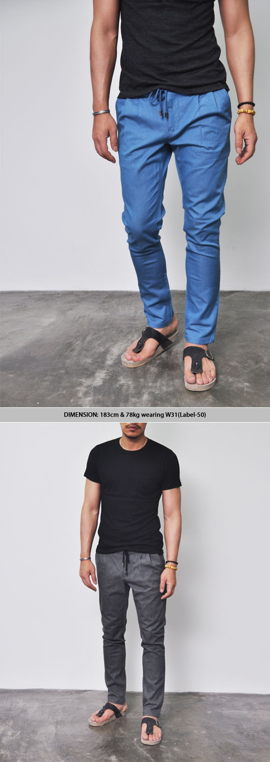 Bottoms :: Jeans :: Semi-Baggy Drawcord Denim Slacks-Jeans 80 - Mens Fashion Clothing For An Attractive Guy Look