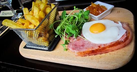 Gammon & Egg with Chips & Pinnapple Chutney