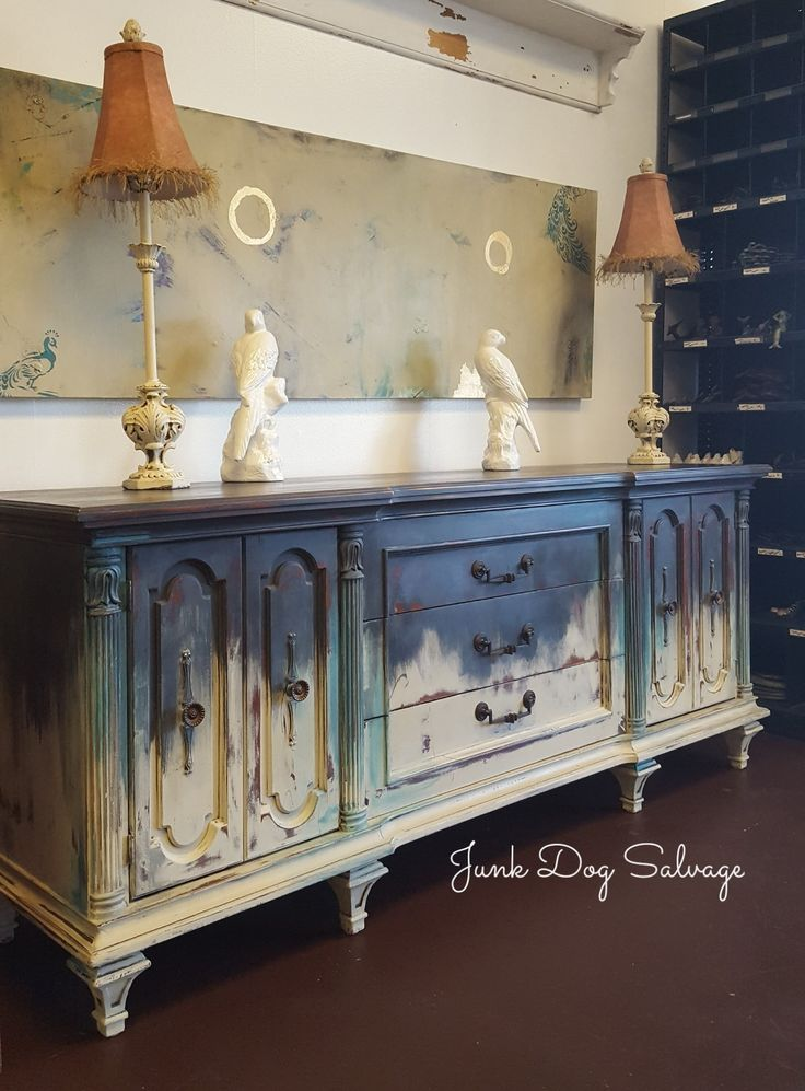 Like an old pair of jeans, Annie Sloan colors wears well on this midcentury long dresser.
