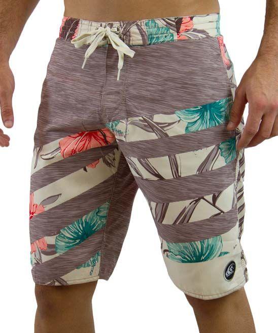 Brown Vertical Blinds Board Shorts - Men