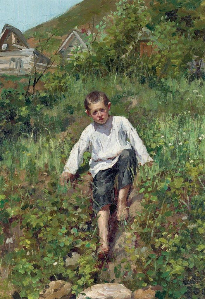 Vinogradov Sergei Arsenievich A Boy Climbing Down A Bank Canvas Art Prints Art Art Painting Oil