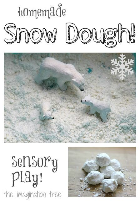 Such a simple and fun idea! Make your own snow for sensory play. It's even crunchy! From http://theimaginationtree.com
