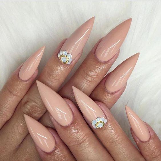 30 coole und trendige Stiletto Nail Art Designs; Stiletto Nail Designs; Bling Stile … – ♡fullcover nails natur♡