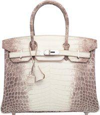 Hermes 30cm Matte White Himalayan Nilo Crocodile Birkin Bag with Palladium Hardware R Square, 2014 Pristine