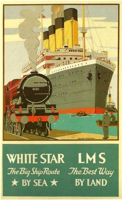 Titanic White Star Line LMS Rail Travel Poster -  1911.  Print