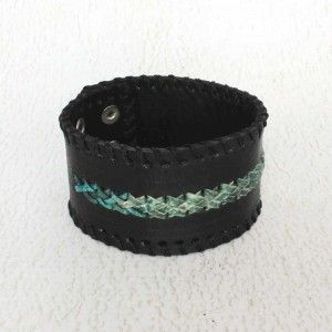 Green Weave Black Leather Mens Bracelet