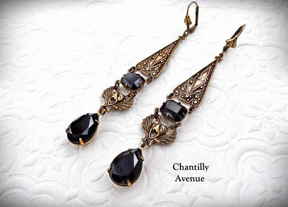 Black Earrings Simple Earrings Gift for her Handmade Jewelry Jet Black earrings Bridesmaid Earrings Dangle Earrings Goth Earings