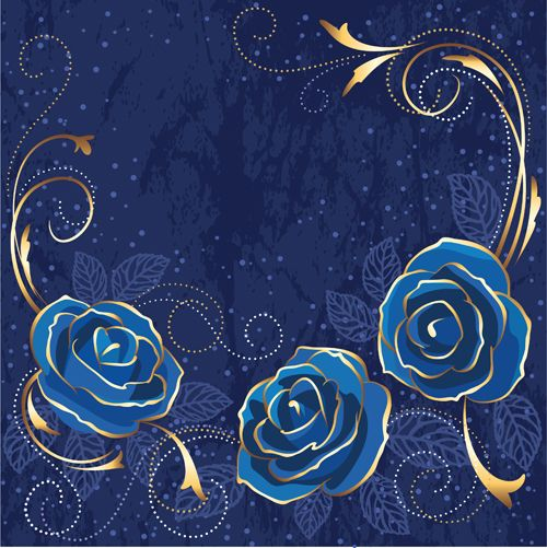Beautiful blue rose vintage background vector 02