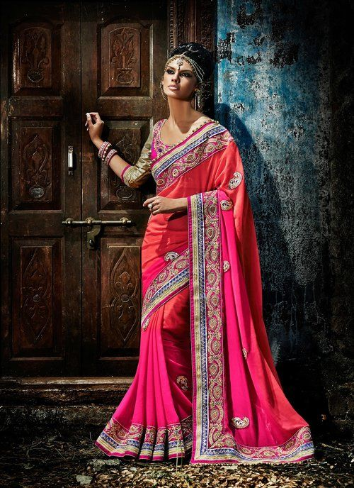 Sparkling Deep Pink & Red Embroidered Saree