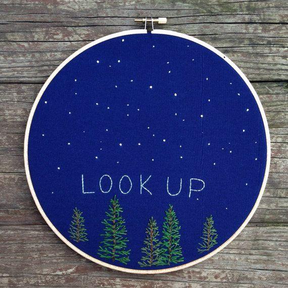"""Look up"" night sky scene #embroidery #stars #trees"