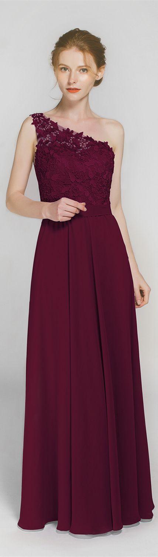 maroon one shoulder burgundy bridesmaid dressesTBQP363