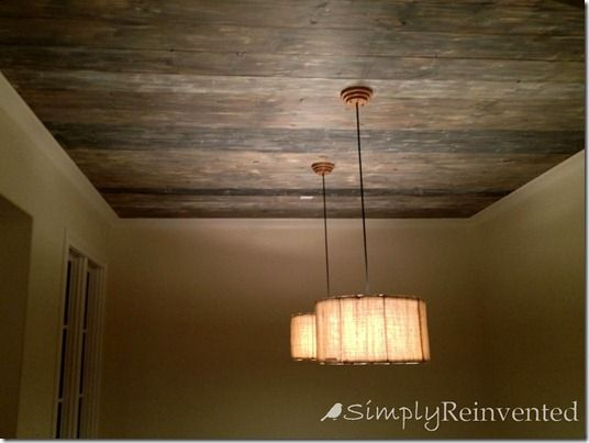 17 best ideas about barnwood paneling on pinterest wood for Faux wood ceiling planks