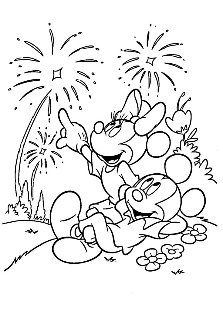Mickey Mouse Fireworks Coloring Pages For Kids Printable Free