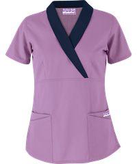 Style # UA686C: Purple Parfait w/ Navy: Butter-Soft Scrubs by UA™  Shawl Collar Mock Wrap Top