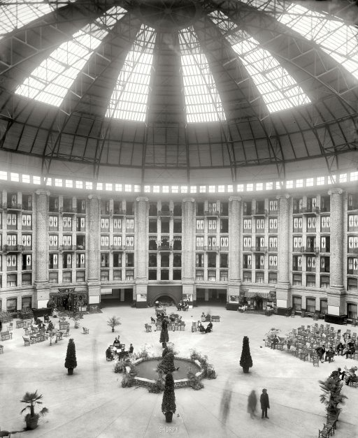 The atrium, West Baden Springs Hotel (near French Lick, Indiana).: Indiana History, Vintage Photos, Historical Photo, Southern Indiana, Indiana Anderson, Baden Springs, Photography Black, West Baden