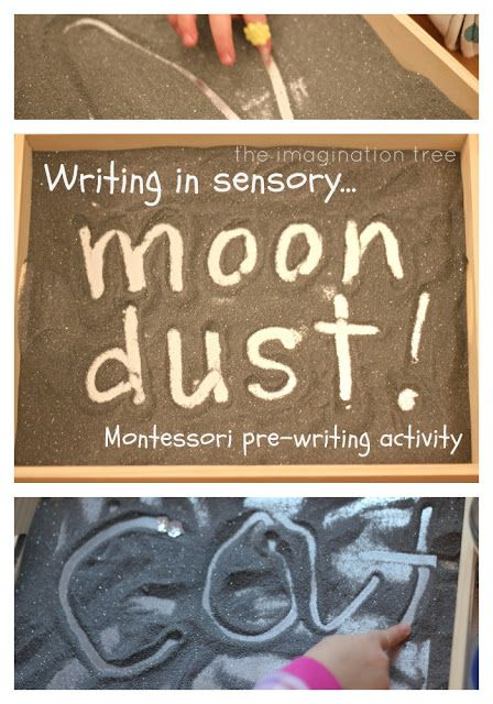 Moon Dust Sensory Pre-Writing Tray made with salt, black food colouring and silver glitter.