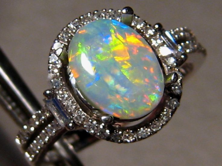 Red & Blue Harlequin Crystal Opal & Diamond Ring 14k White Gold