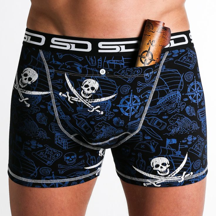 Pirate Smuggling Duds Boxer Briefs is part of The North Sea Collection that has our new design registered bigger stash pocket to keep more of your valuables safe.  Featuring a Pirate inspired design in a Nautical Blue colour finished off with some White Skull and Cross Bones.
