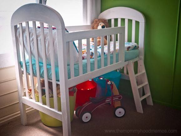 Saw this on Facebook. How awesome is this? Baby crib converted to toddler bunk with storage.  Would love to do this one day! Website on bottom right of photo I believe!