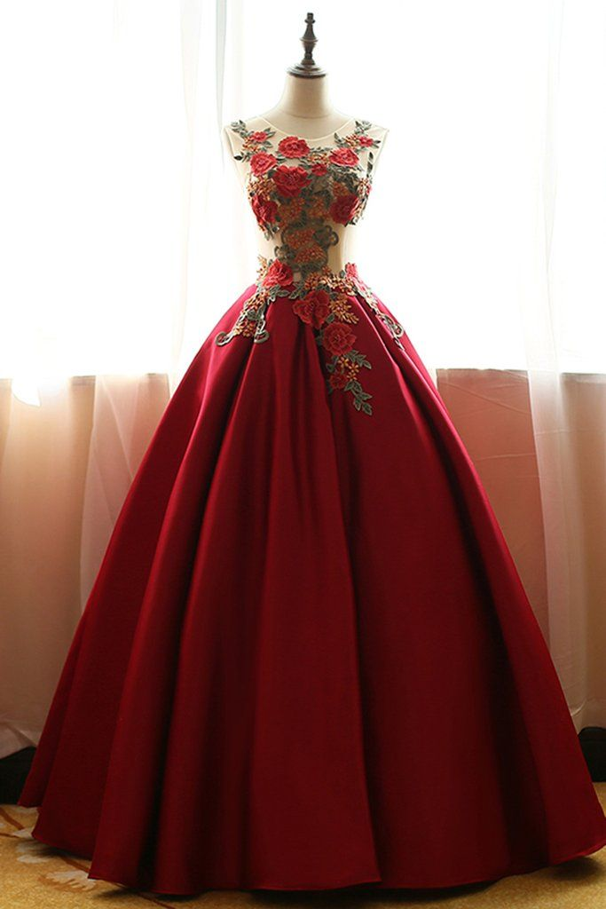 Red chiffon satins rose applique round neck A-line long prom dresses,ball gown dresses