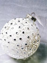 Clear ornaments, white flocking kit & rhinestones make a beautiful handmade ornament.