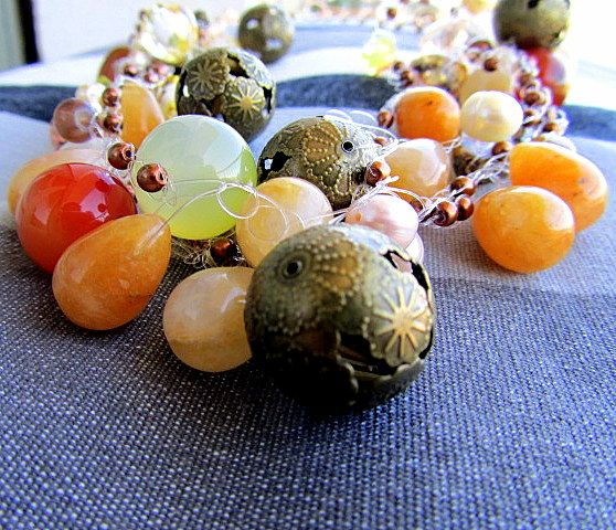 nylon necklace made with stone and design beads
