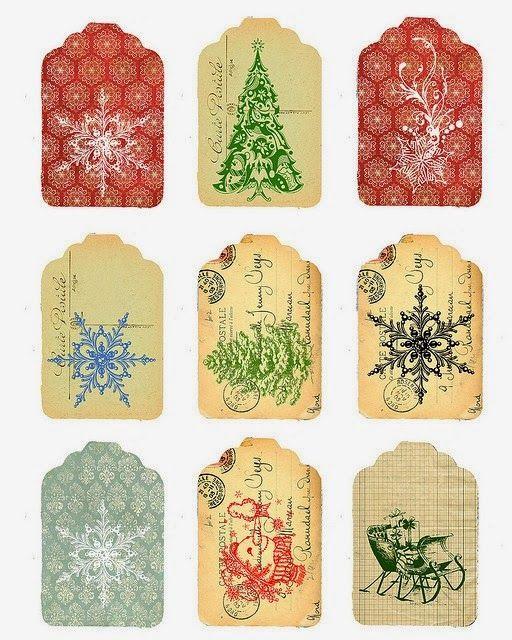 Etiquetas de Navidad Retro para Imprimir Gratis.