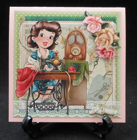 The Seamstress Vintage Style Topper on Craftsuprint created by Michelle Chivers - Printed onto matte coated paper, then mounted onto pink card. I used silicone for the decoupage and finished of with a green insert.