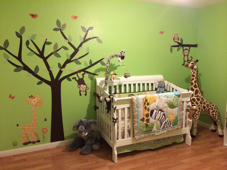 Jungle theme nursery caydens room pinterest jungle for Forest themed bedroom ideas