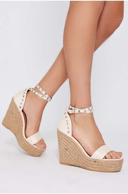 312bb383ee22 Trudee rose gold chrome faux leather wedges