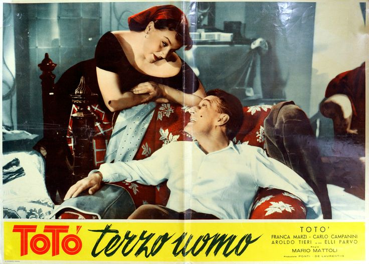 "Franca Marzi and Totò (Antonio De Curtis). Lobby card for Mario Mattoli's comedy ""Totò terzo uomo"" (Italian title: ""Totò Third Man"", 1951)."