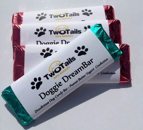 Tasty, soft peanut butter yogurt candy bars that are confections, or dog candy. You will recieve three dog candy bars, each approximately 4 3/4 inches x 2 1/4 inches (the size of a regular candy bar). Each easily breaks into 6 squares, like a Hershey bar. These treats are made of human-quality ingredients that your dog should enjoy as a special treat.  Each treat is wrapped in foil and a candy bar wrapper. Foil colors will vary - red, silver, green, blue or pink. These bars make a t...