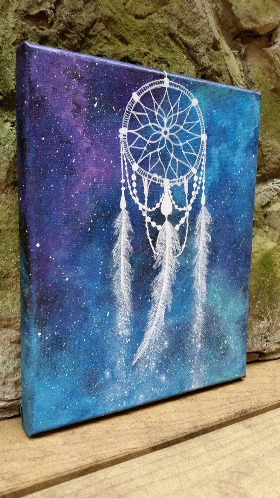 Dreamcatcher painting space art hippie painting by TheMindBlossom