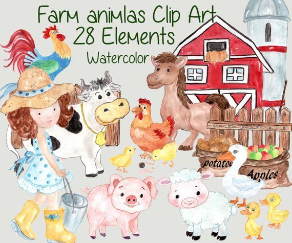 Farm Animals Clipart Farm Clip Art Watercolor Etsy Farm Animals Clipart Animals Clipart Farm Clip Art