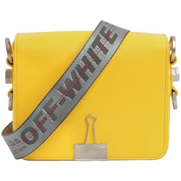 Off White Women Binder Clip Saffiano Leather Bag ($960) ❤ liked on Polyvore featuring bags, handbags, shoulder bags, yellow, saffiano leather purse, yellow shoulder bag, shoulder strap handbags, champagne handbag and yellow purse