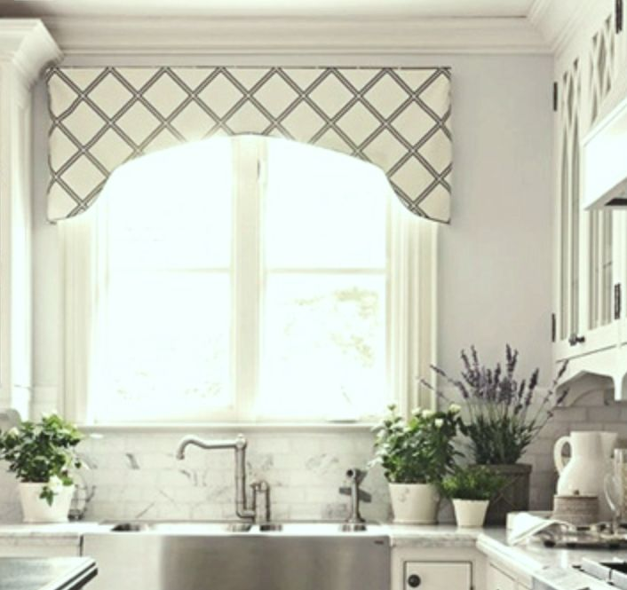 The Window Valance Over This Kitchen Sink Has A Nice Curve Shape It Compliments The Stone And Marble Backsplash Gray And White Are
