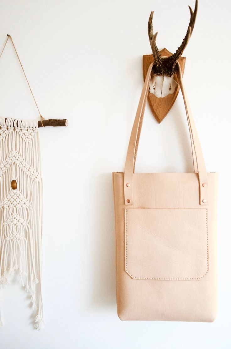 Organic leather tote // Hand sewn, organic, vegetable tanned natural leather shopper