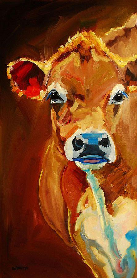Peek Cow Painting - Peek Cow Fine Art Print