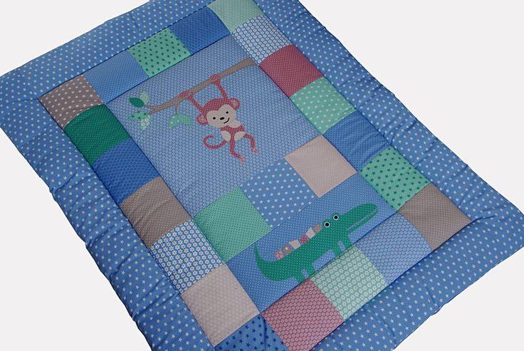 Babydecken - Große Krabbeldecke Patchworkdecke mit Namen blau - ein Designerstück von EuleLulu bei DaWanda