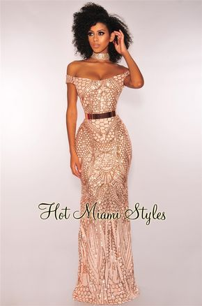 e53a523f999a Rose Gold Sequins Sweetheart Off Shoulder Mermaid Maxi Dress in 2019 ...