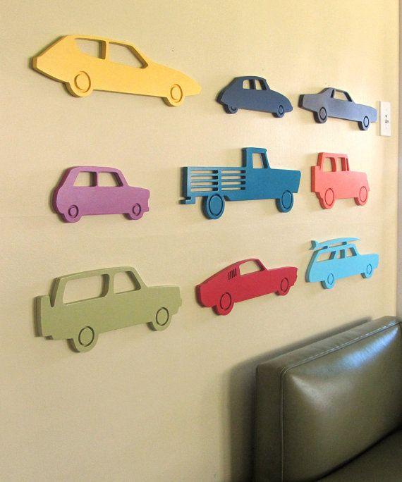 Modern car wood sign, Car silhouette, Vintage car, Boys room wall, Boys décor, Nursery wall, choose your color. $19.00, via Etsy.