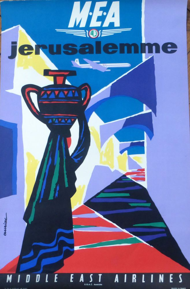 "MEA AVIATION MIDDLE EAST AIRLINES "" JERUSALEMME "" Affiche Ancienne Signée AURIAC"