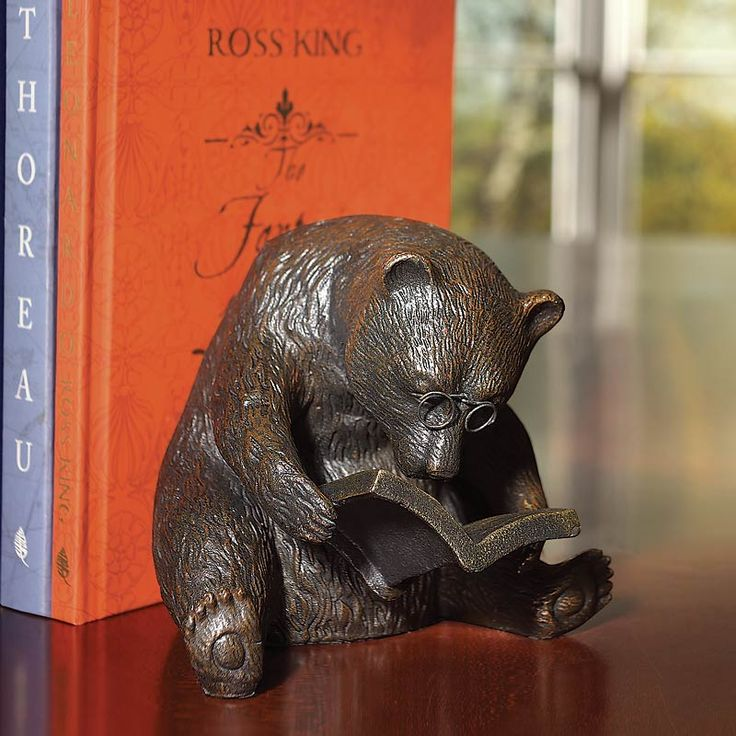 A bookend to bear your books  ---  Poring over what's apparently his favorite text — and unaware of how helpful he is as a bookend — our elder bear gazes through spectacles while he leans steadfastly against your books.